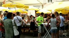 Eichhof beer umbrellas at Luzern Fest 2012 Stock Footage