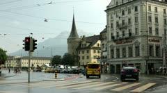 Crosswalk in Luzern Switzerland Stock Footage