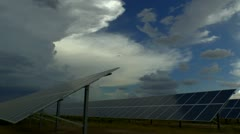 Solar Panel Storm Clouds Time Lapse - stock footage