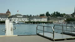 Ship dock station in Switzerland Stock Footage
