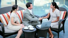 Handshake on outdoors business meeting of multi ethnic executive managers   - stock footage