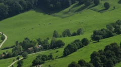 Bird eye`s view to pastures with farmhouse Stock Footage