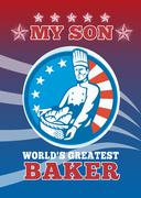 Stock Illustration of my son world's greatest baker son greeting card poster.