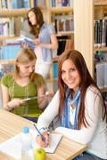 young girl studying at high school - stock photo