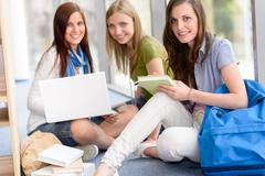 group of teenage student study at high-school - stock photo