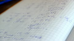 Notebook full of chemical formulas Stock Footage