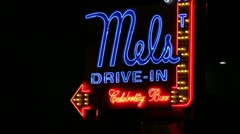Mels Drive-In neon sign Hollywood Stock Footage