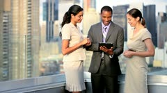 Teamwork of diverse managers planning funds on rooftop Manhattan office  - stock footage