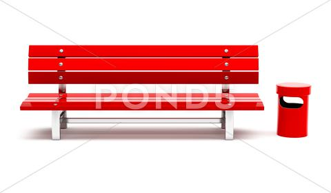 Stock Illustration of red bench and bin