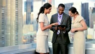 Rooftop meeting of multi ethnic business colleagues closing contract handshake  Stock Footage