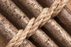 Stock Photo of wooden fence with rope