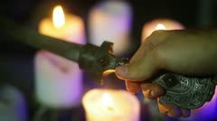 Ritual knife sword anathma WITCHCRAFT Stock Footage