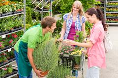 garden centre salesman offer potted plant - stock photo
