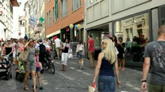 People in streets of Luzern Switzerland Stock Footage