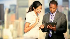 Meeting of multi ethnic business managers ending handshake using tablet   Stock Footage