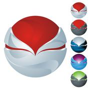 abstract sphere icon set - stock illustration
