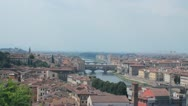 """Panoramic of Florence, the """"duomo"""", the Arno river and the town hall Stock Footage"""