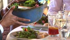 Serving Dinner Salad Stock Footage