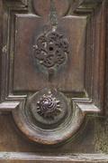 keyhole of old doorlock - stock photo