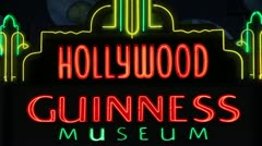 Guinness World of Records Hollywood Neon Sign Stock Footage