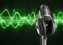 Audio waves & microphone Stock Illustration