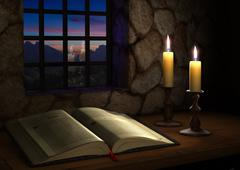 Bible near a window Stock Illustration