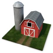 barn and silo - stock illustration