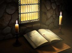 open bible in sunlight - stock illustration