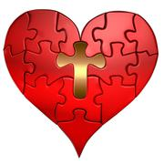heart and cross puzzle orthographic - stock illustration