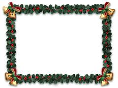 holly garland border - stock illustration