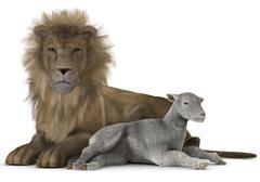 Lion and lamb Stock Illustration