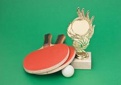 Sports Awards ja tennismailat vihreä pöytä Kuvituskuvat