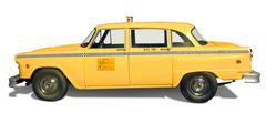 yellow taxi - stock illustration