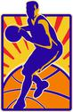 Stock Illustration of basketball player dribbling ball retro.