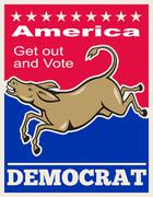 Democrat donkey mascot america vote Stock Illustration
