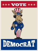 Democrat donkey mascot thumbs up flag. Stock Illustration