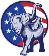 Republican elephant mascot usa flag. Stock Illustration