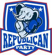 republican elephant mascot boxer shield. - stock illustration