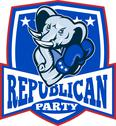 Republican elephant mascot boxer shield. Stock Illustration
