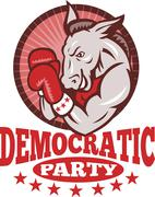 Democrat donkey mascot boxing. Stock Illustration