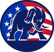 republican elephant mascot usa flag. - stock illustration