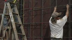 Home construction site medium, foundation frame Stock Footage