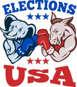Democrat donkey republican elephant mascot usa. Stock Illustration