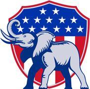 republican elephant mascot usa flag. - stock illustration