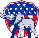 Republican elephant mascot usa flag. Stock Illustration