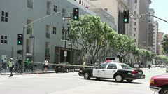 Police cordon off a crime scene in Los Angeles - stock footage