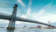 Stock Video Footage of Williamsburg Bridge in NYC