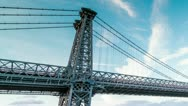 Stock Video Footage of Williamsburg Bridge in NYC (closeup)