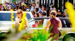 People Walking on Crowded City Streets Stock Footage