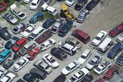 junk cars automobiles junkyard - stock photo